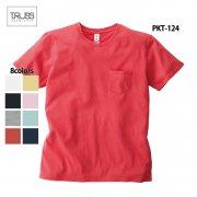5.0oz ポケット付き 無地Tシャツ(TRUSS/トラス)[PKT-124]