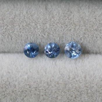 スリランカ産 ブルー・サファイア ルース (加熱) セット 計0.21ct  2.1mm 2個  2.3mm  1個