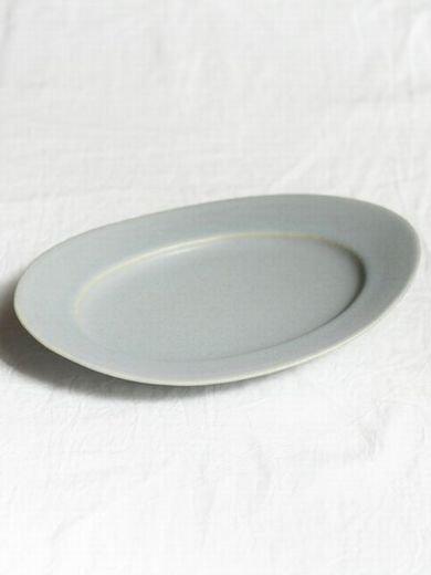 オーバル皿S-青マット