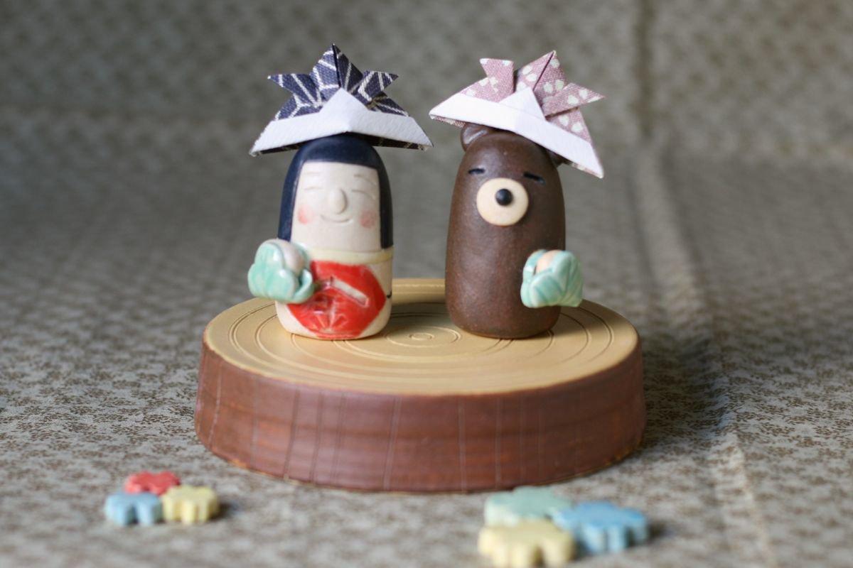 岡崎順子 五月人形豆(丸太)