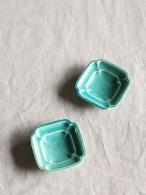 四方豆皿-トルコブルー