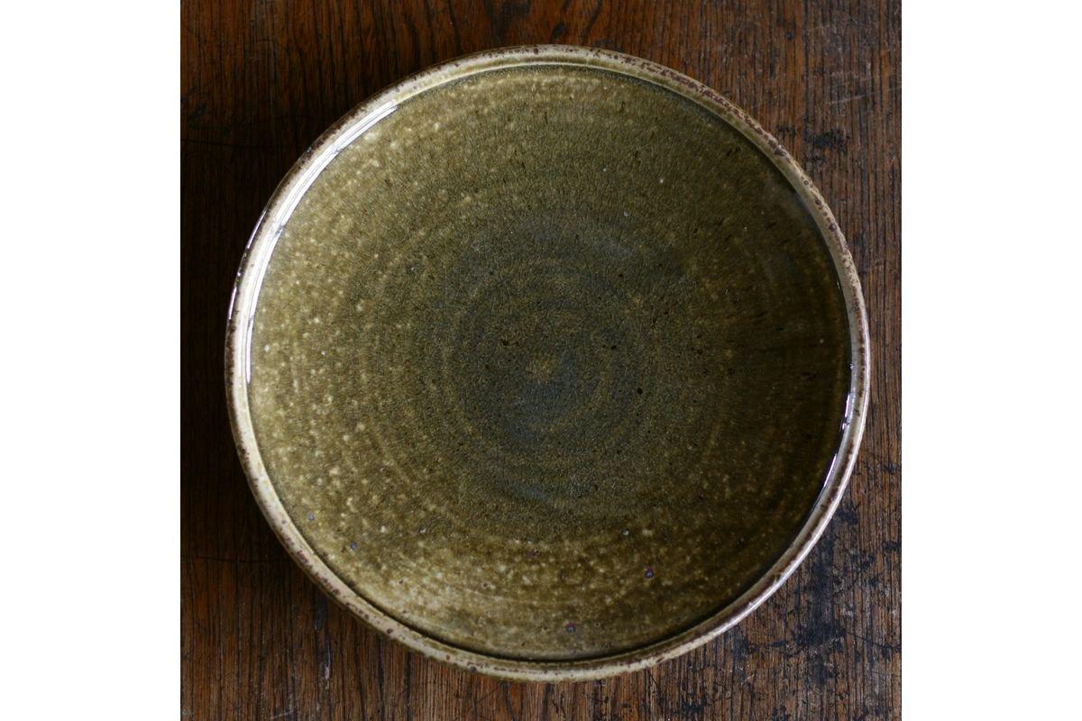 叶谷真一郎 8寸銘々皿-黄土灰