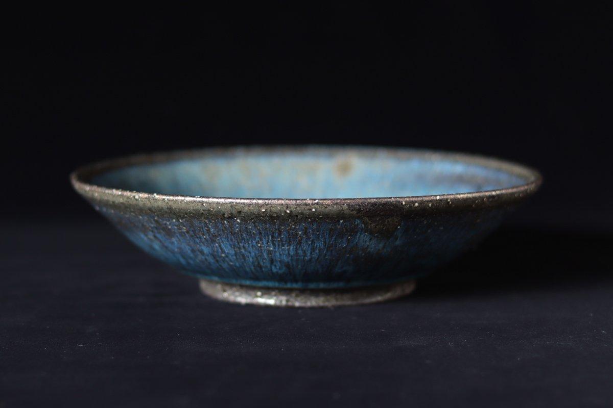小野象平 青灰釉平鉢