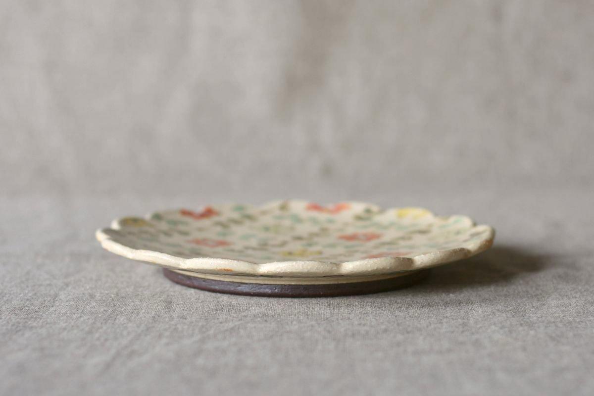 増山文 輪花絵皿6寸