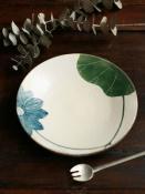青ハスの花5寸皿