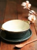 黒呉須化粧スープ平碗