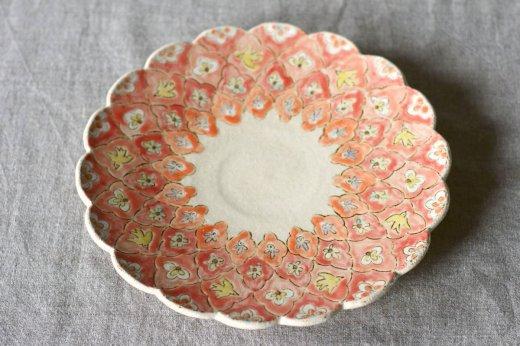 彩文稜花絵皿8寸-青黄花