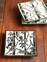 カキオトシ竹と鳥角台皿