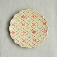 彩文輪花絵皿6寸-鳥と花