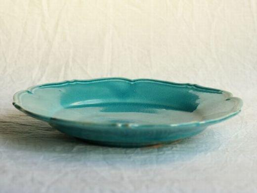 Awabi ware 輪花皿M-トルコブルー