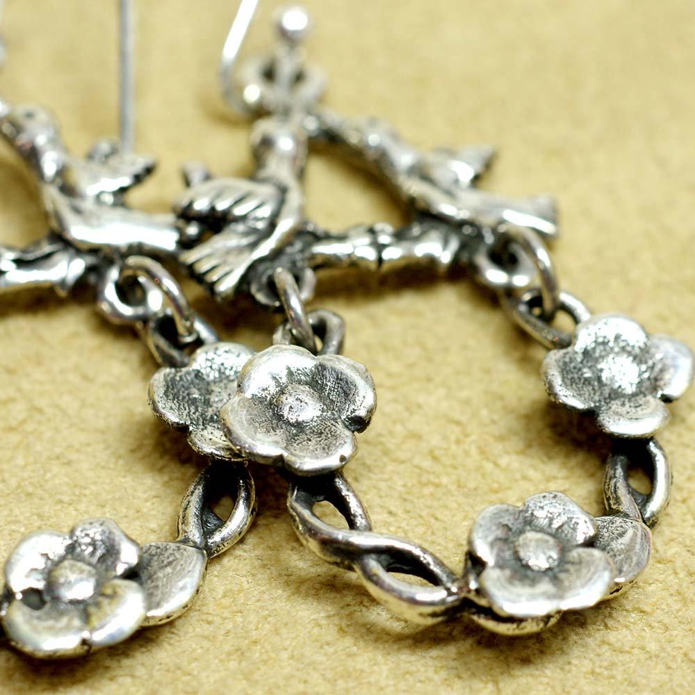 Silver925☆お花と鳥のピアス