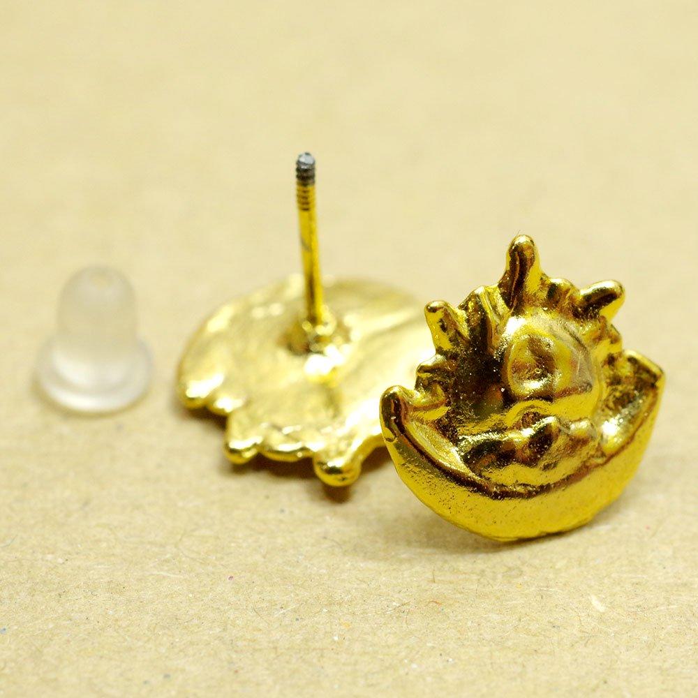 ゴールド☆ミニピアス ソルイルナ(月と太陽) A