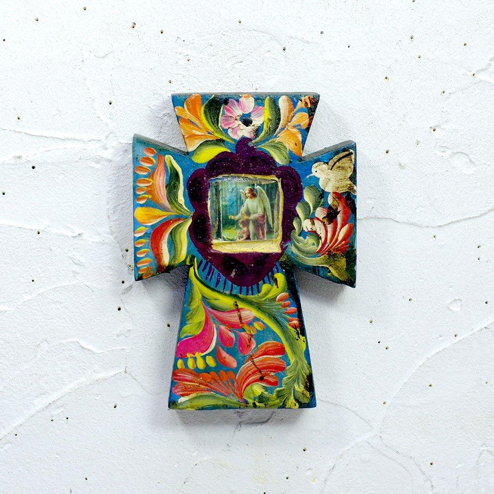 メキシコ☆手描きの花柄 ミニ クロス D☆発送は→【スマートレター】【レターパックライト】【レターパックプラス】【宅急便】