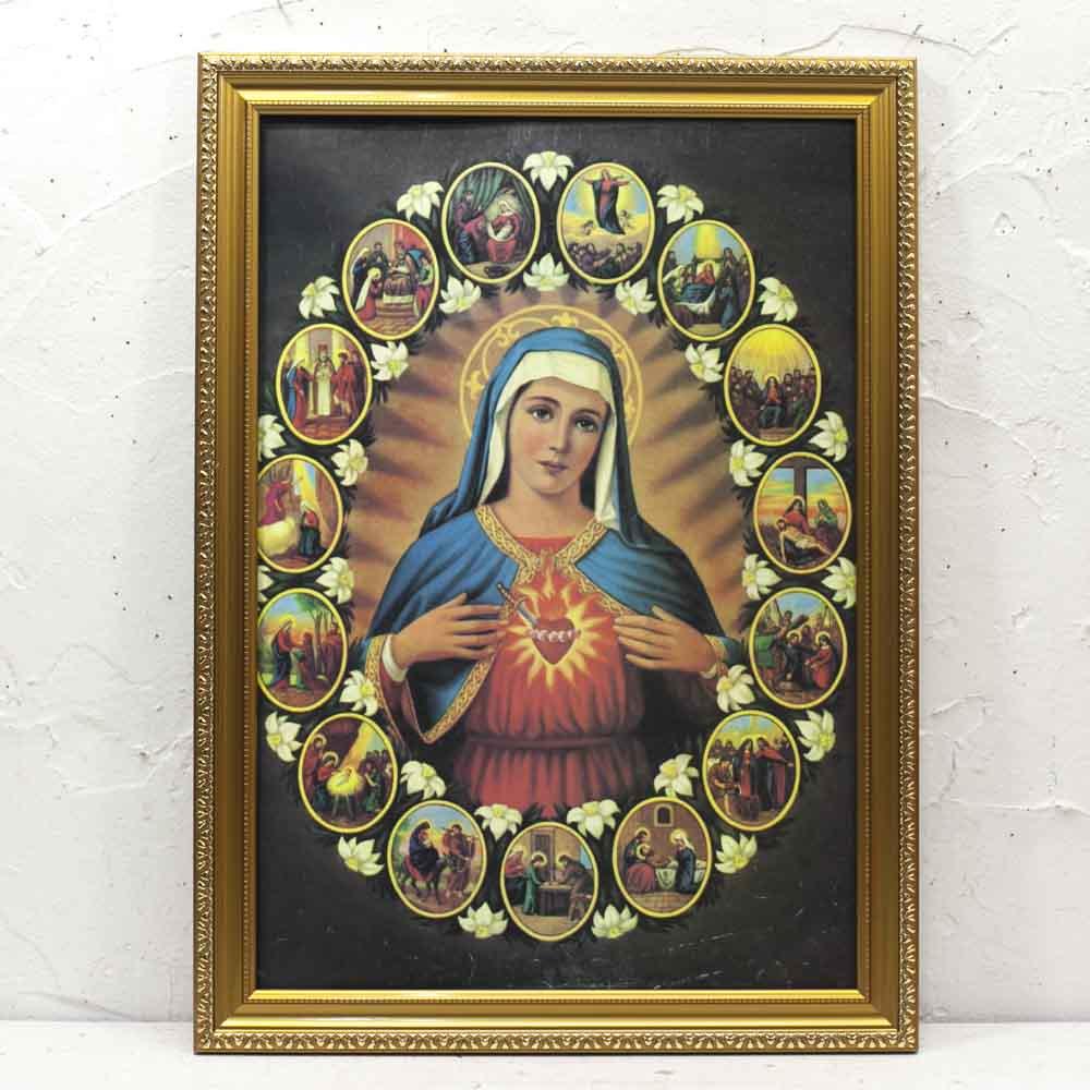 メキシコ☆聖母とキリストポスター☆フレームセット【1】 ☆発送は→【宅急便のみ】