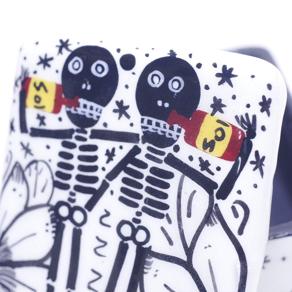 メキシカンスカル☆陶器のガイコツ小物入れ スクエアB(Mサイズ)☆発送は→【レターパックプラス】【宅急便】