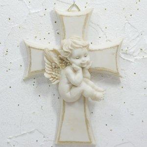 壁掛け☆座っている天使の白いクロス