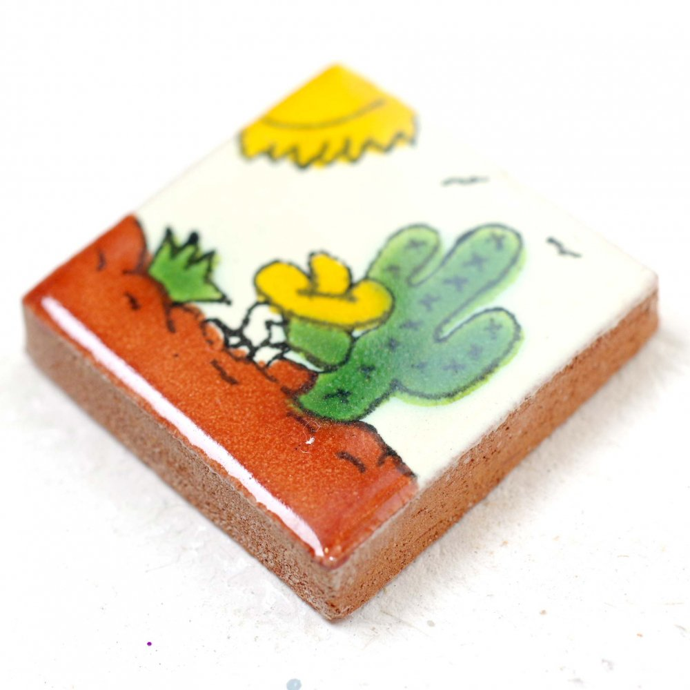 タラベラ焼☆素焼きタイル 4枚set【3cm】A