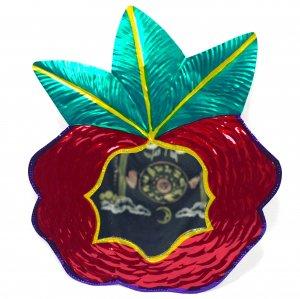 ブリキ☆ミラー付き 薔薇の壁飾り【31cm】 B