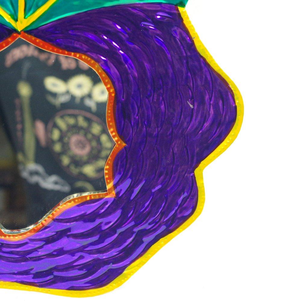 ブリキ☆ミラー付き 薔薇の壁飾り【31cm】 A