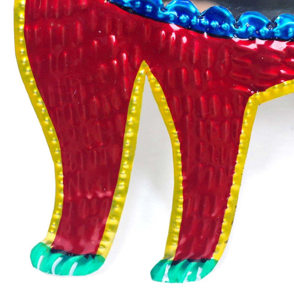 ブリキ☆ミラー付き ぐるぐる尻尾ネコの壁飾り【27cm】 B