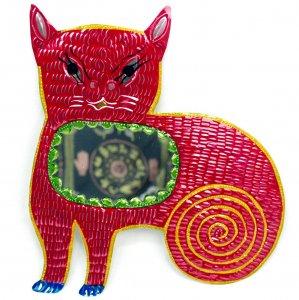 ブリキ☆ミラー付き ぐるぐる尻尾ネコの壁飾り【27cm】 A