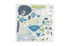 正方形のWガーゼ M 猫とキノコ(水色)