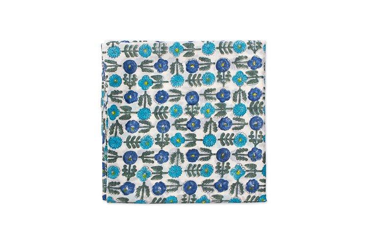 鹿児島睦 スカーフ シックスフラワー ブルー