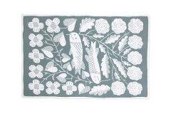 鹿児島睦 KALA コットンブランケット M white-grey