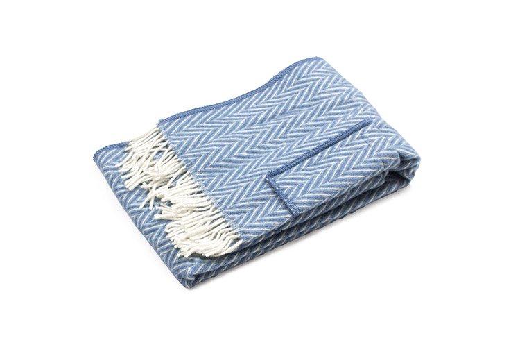 IIDA ポケットショール ブルー/ホワイト