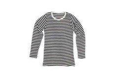 タムシルク ロングスリーブ Tシャツ ボーダー(ブラック×ホワイト) XS