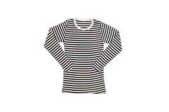 タムシルク ロングスリーブ Tシャツ ボーダー(ブラウン×クリーム) S