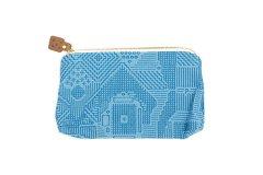 刺子織 ポーチ ブルー