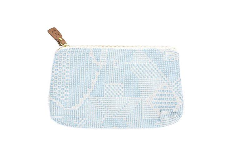 刺子織 ポーチ ライトブルー