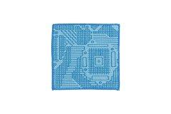 刺子織 コースター ブルー