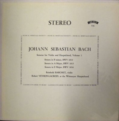 R. バルヒェット 〜 R. ヴェイロン=ラクロワ  バッハ 6つのヴァイオリン・ソナタ (2枚組 / 分冊)