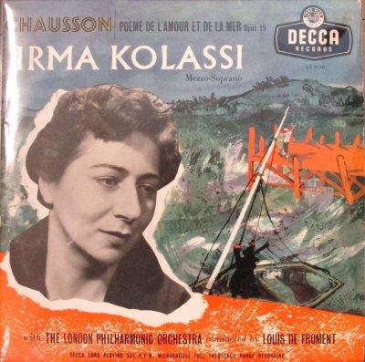 イルマ・コラッシ / ルイ・ド・フロマン 〜 ロンドン・フィル   ショーソン 愛と海の詩 (10インチ)