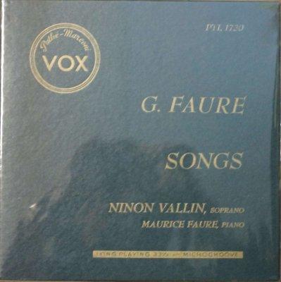 ニノン・ヴァラン 〜 モーリス・フォーレ   G. フォーレ 歌曲集 (10インチ)