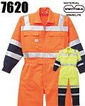 商品詳細へ:YD 7620 反射型ツヅキ服(安全作業つなぎ服) 欧州規格適合素地