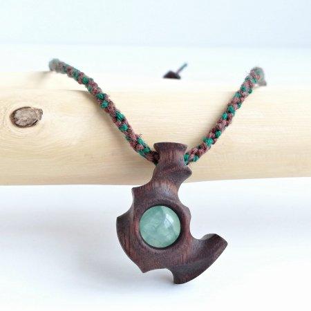木のペンダント フローライト&ウォールナット