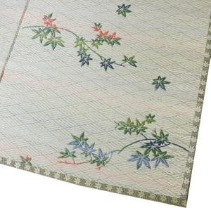い草カーペット和室に似合う落ち着いた花ござ柄「かえで」江戸間【裏なしタイプ】