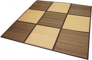 竹とい草のふっくらパッチラグ 「デュオ」 コンパクト折畳タイプ 【ウレタン5mm入でボリュームUP】