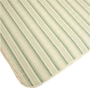 やさしい肌触りの綿混キルトラグ「ストライプ」グリーン色 【インド綿調】