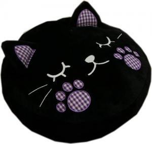 かわいいハンドウォーマー抱きクッション。ネコ(ブラック)【手先の冷え性対策】