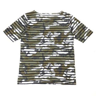 SOPHNET. ソフネット 15SS S/S OVER PRINT BORDER BOAT NECK CUT &SEWN 迷彩ボーダーTシャツ