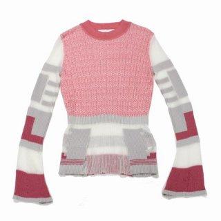 Mame Kurogouchi マメ クロゴウチ 20SS Mixed Knitted Fabric Peplum Pullover ニット