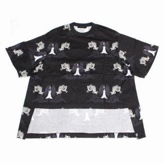 UNDERCOVER アンダーカバー 20SS 総柄前後丈違BIG TEE フェザープリント Edward Gorey Tシャツ