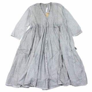 maison de soil 20SS ORGANIC PATCHWORK HAND DYE MINI PINTUCK WRAP DRESS