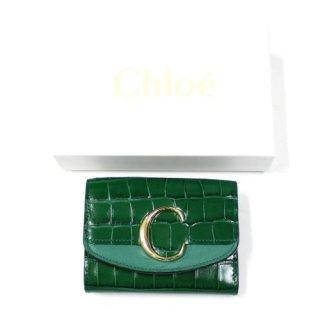 Chloe クロエ CHLOE C Small Tri-fold Wallet - Croco クロコ型押し コンパクト ウォレット 財布