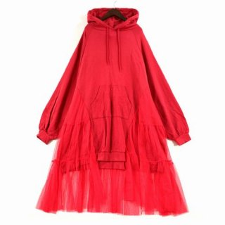 Candy Stripper キャンディストリッパー SIDE TULLE SWITCHED HOODIE パーカーワンピース