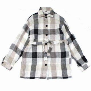 Anteanny アンティーニー 20SS waking up plaid shirt リネン シアーチェック オーバーシャツ